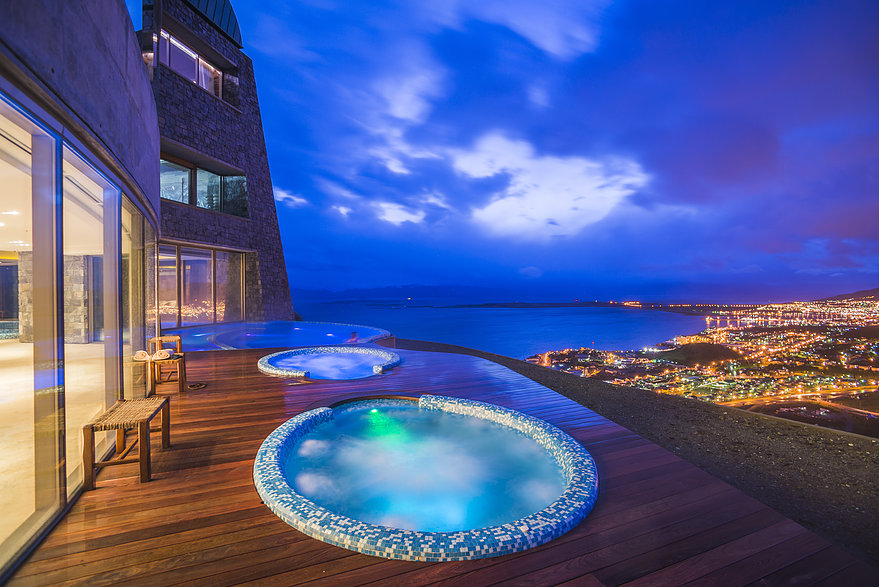 Outdoor jacuzzi at night, Hotel Arakur Ushuaia Resort and Spa, Ushuaia, Tierra del Fuego, Patagonia, Argentina